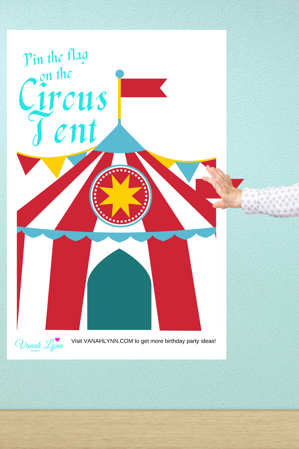 pin the flag on the circus tent birthday party game