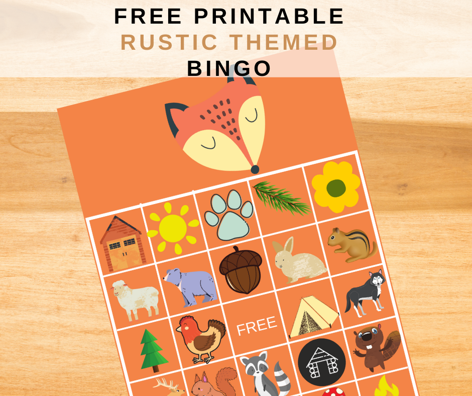 Rustic animal themed bingo game for a birthday party