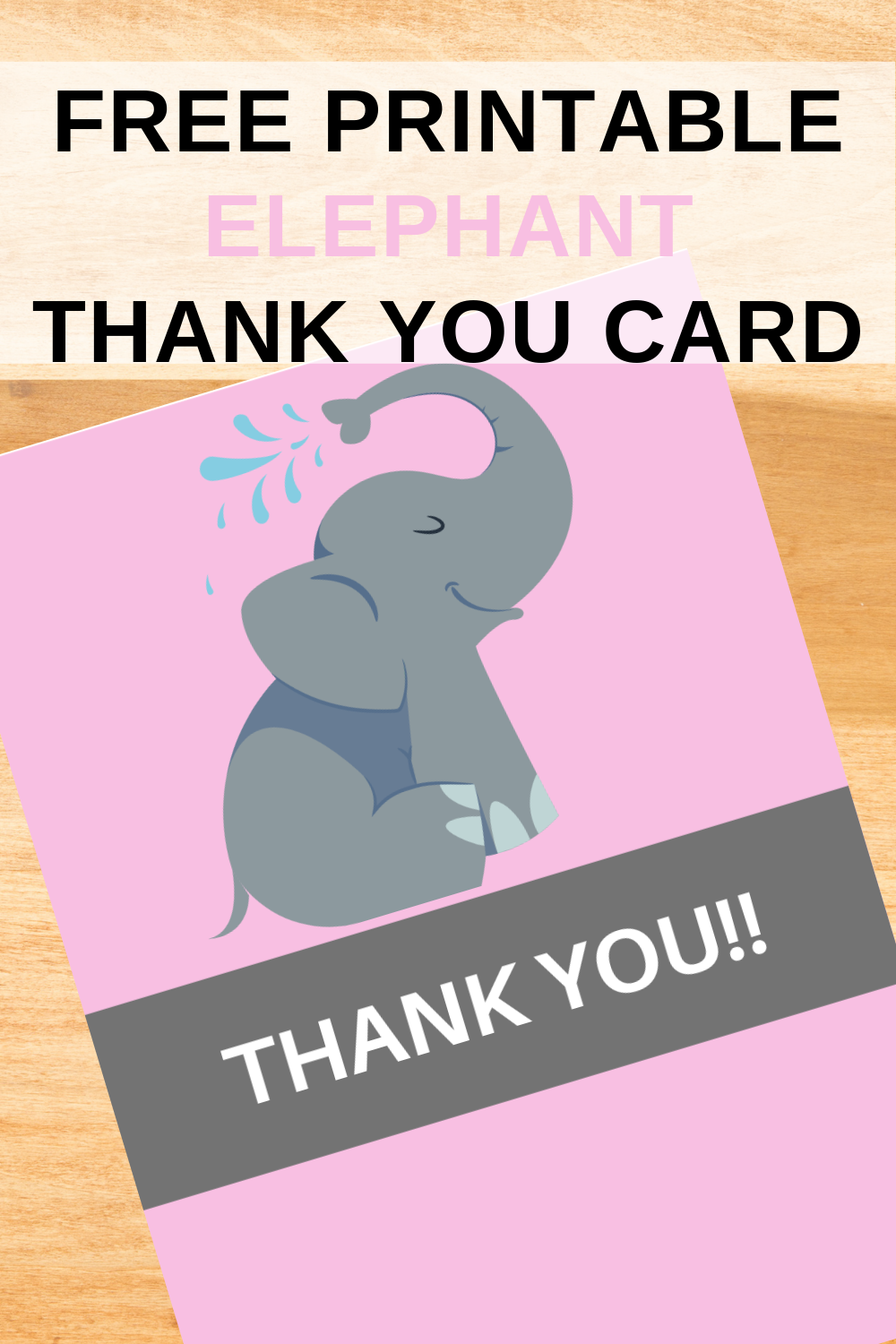 elephant first birthday free thank you card