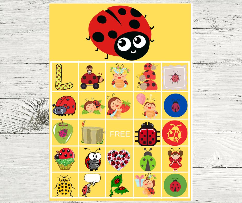 Ladybug BINGO game for a birthday party