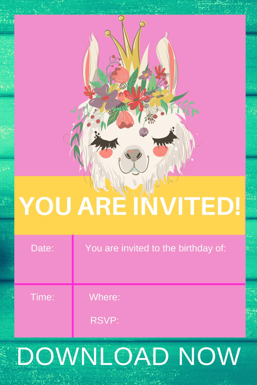 llama birthday invitations printable