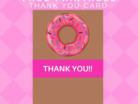 Donut Thank You Card | Free Printable Donut Themed Thank You Note | DIY Donut Birthday Party Ideas