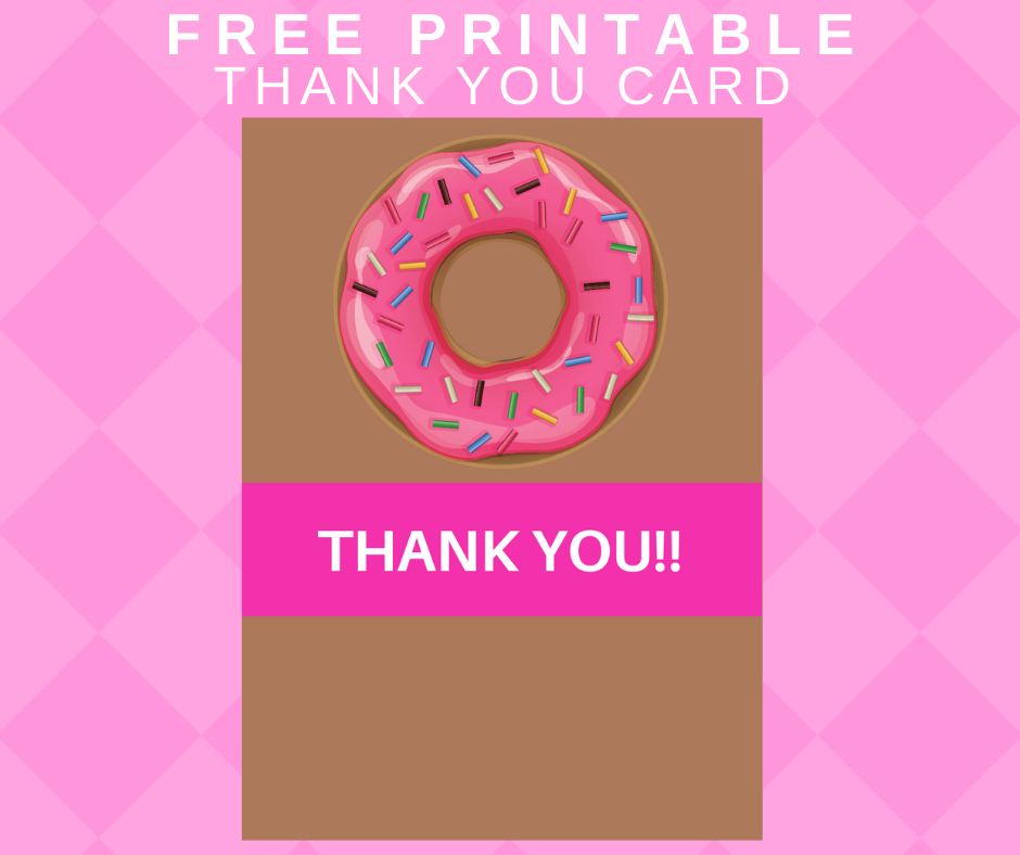 donut themed thank you card for a birthday party