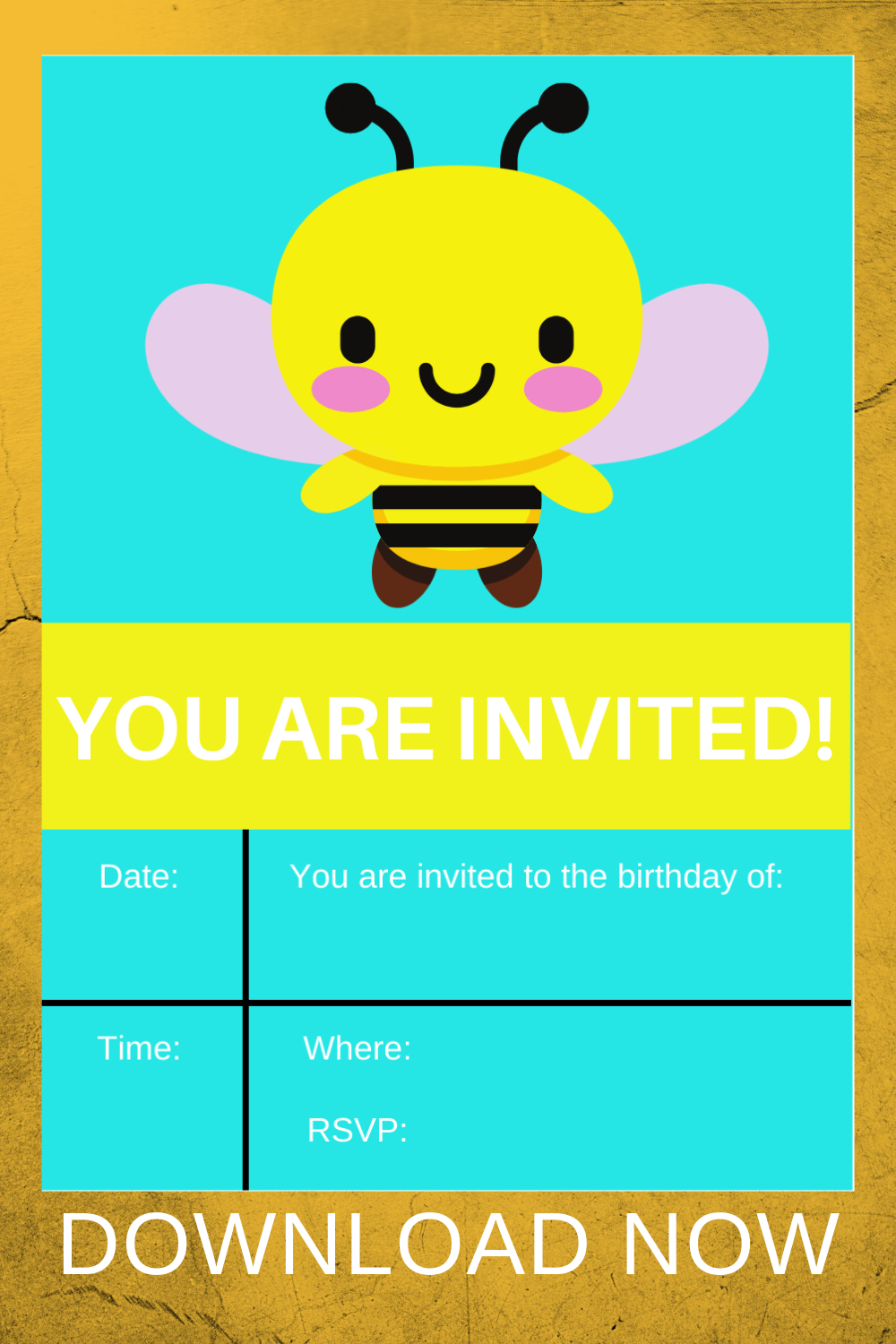 first birthday bumble bee party invitation