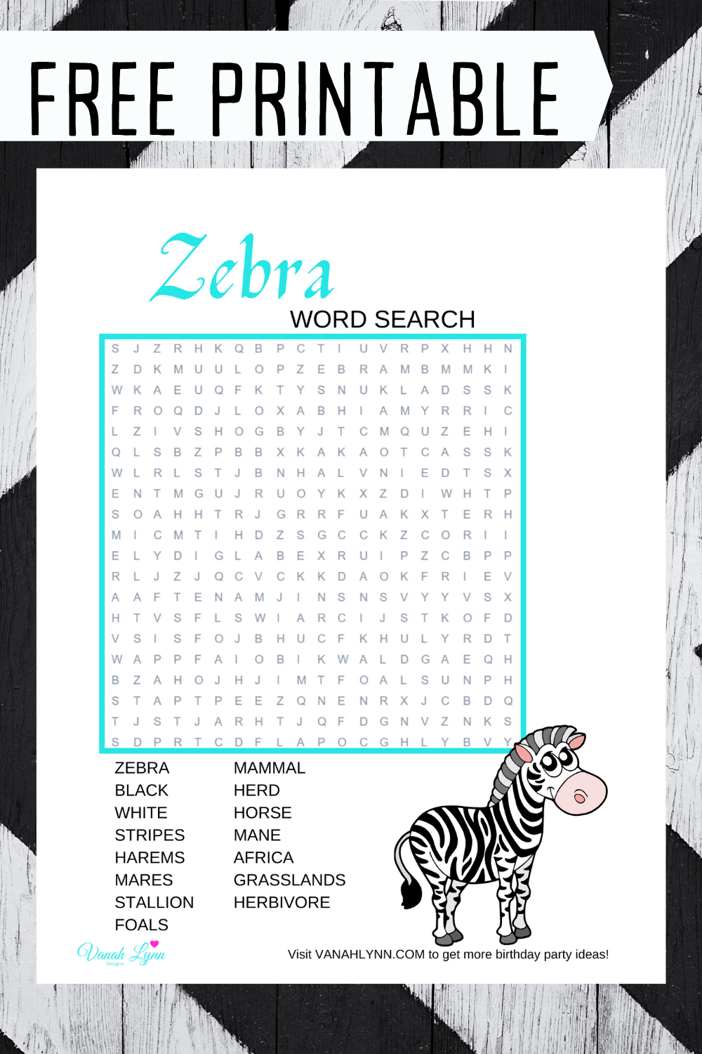 free printable zebra word find for a birthday party
