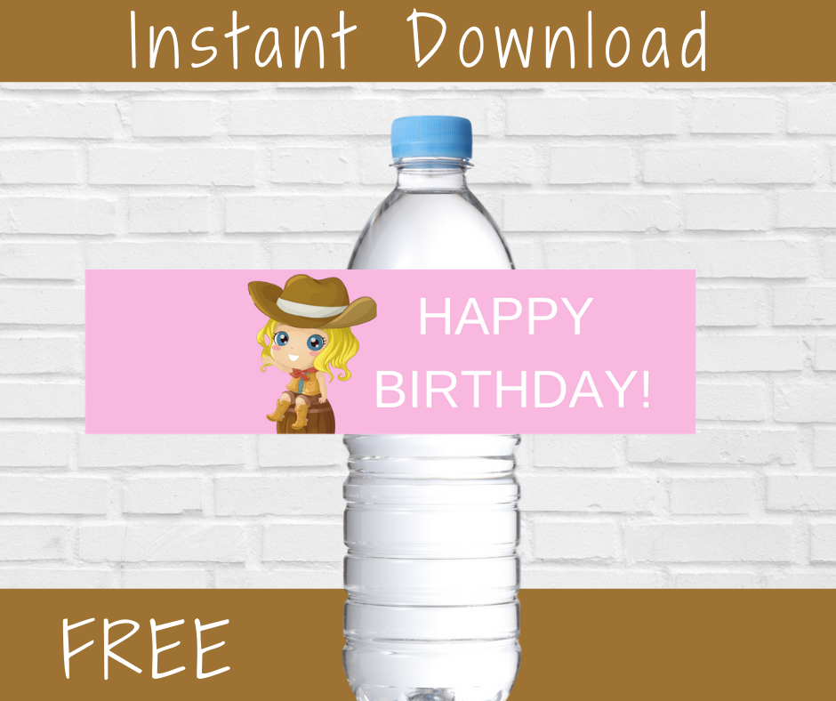 cowgirl water bottle label for a kids birthday party