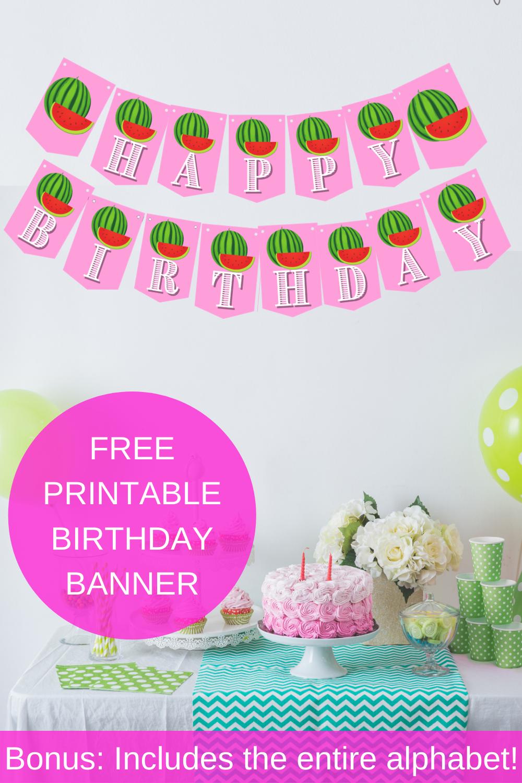 1st birthday party watermelon banner