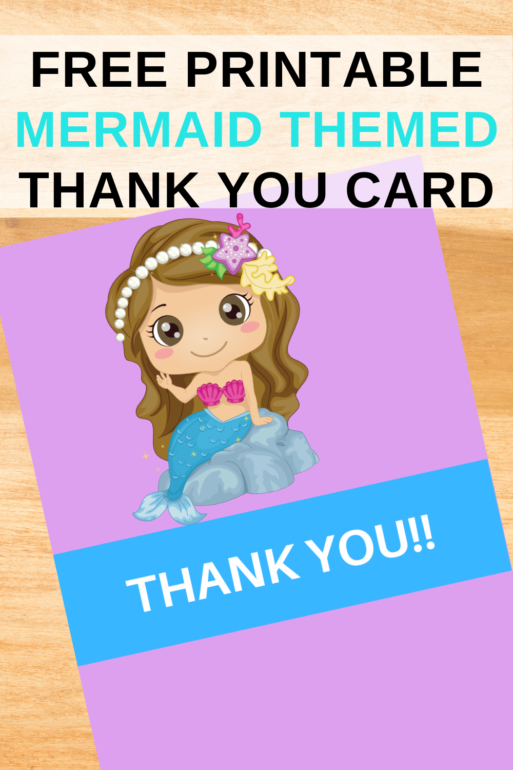mermaid 1st birthday party thank you note for toddlers