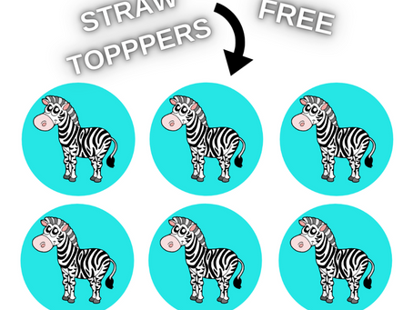 Zebra Straw Toppers | Free Printable Zebra Themed Birthday Party Ideas | DIY Zebra Decorations