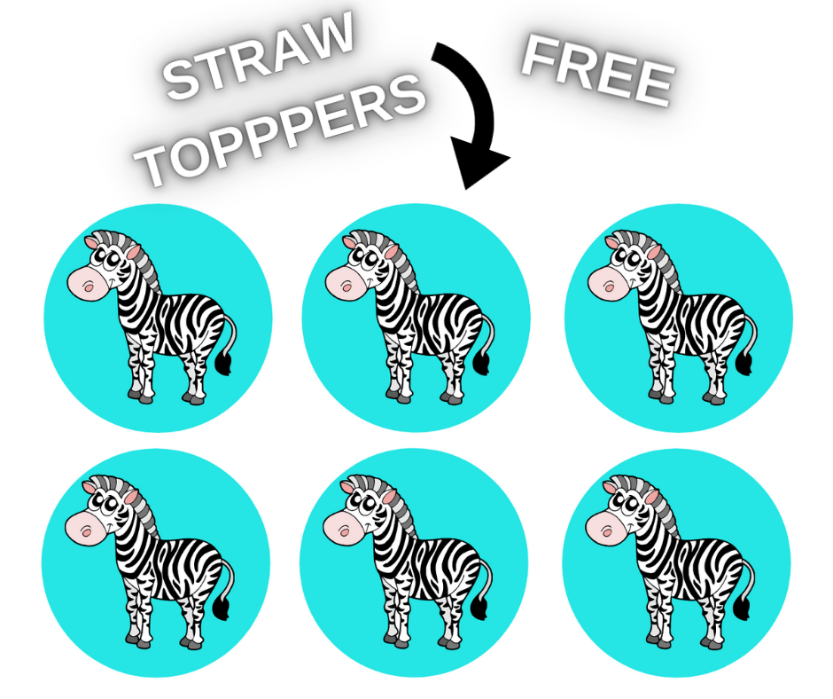 zebra straw toppers for birthday party
