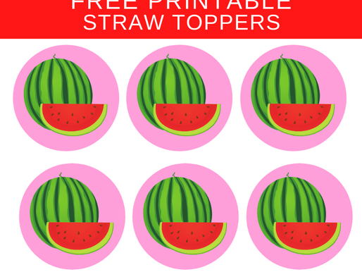 Watermelon Children's Party Ideas - FREE Printable Straw Toppers