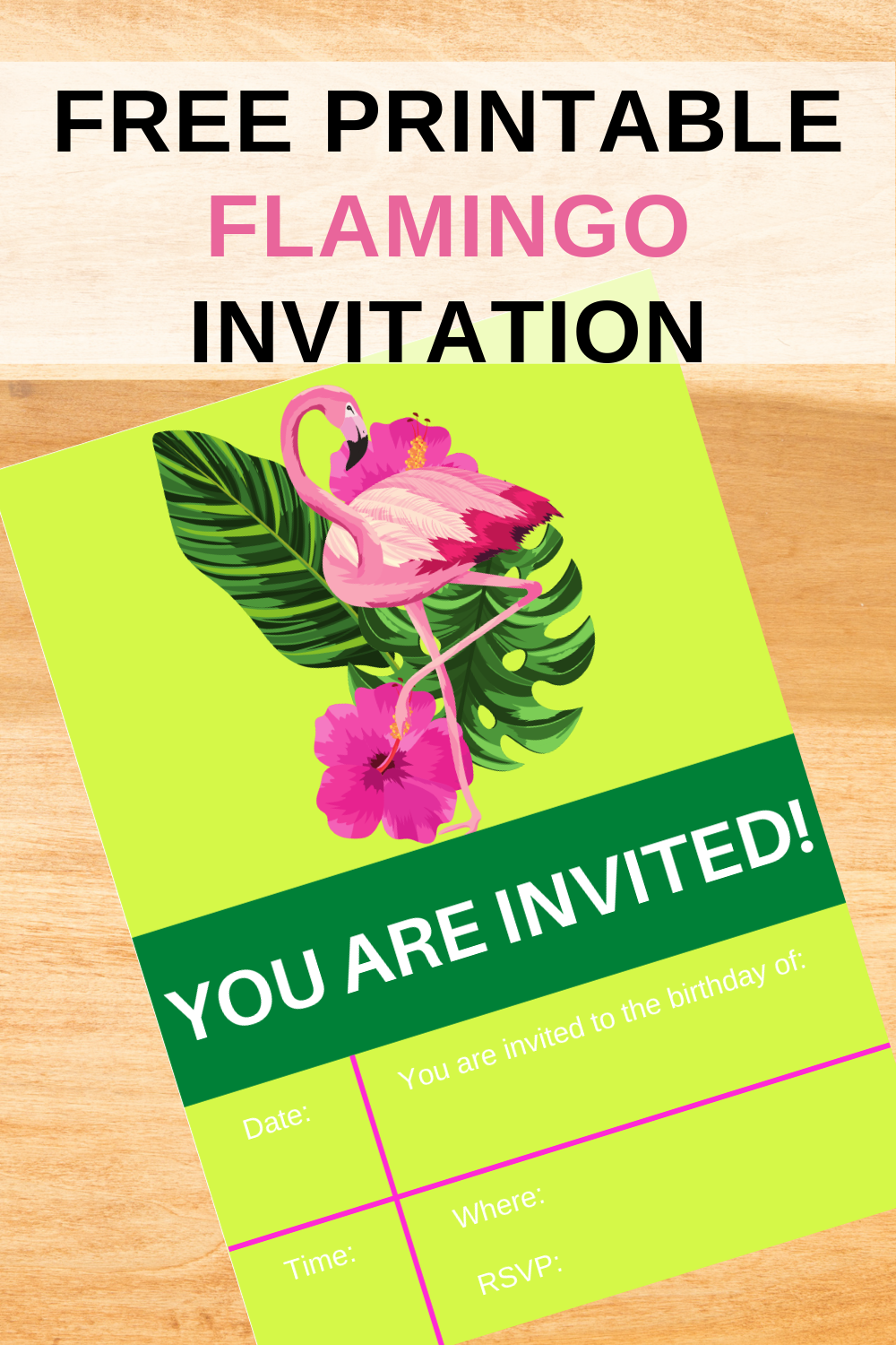 free printable flamingo invitation for a little girls birthday party