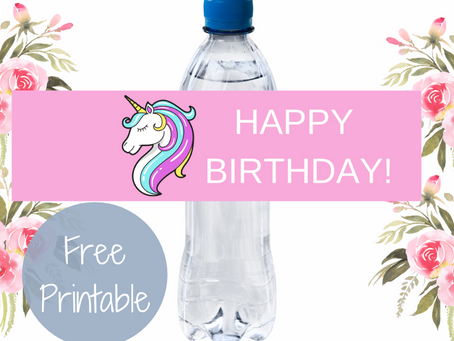 Unicorn Water Bottle Label | Free Printable Unicorn Birthday Party Ideas | DIY Party Decorations