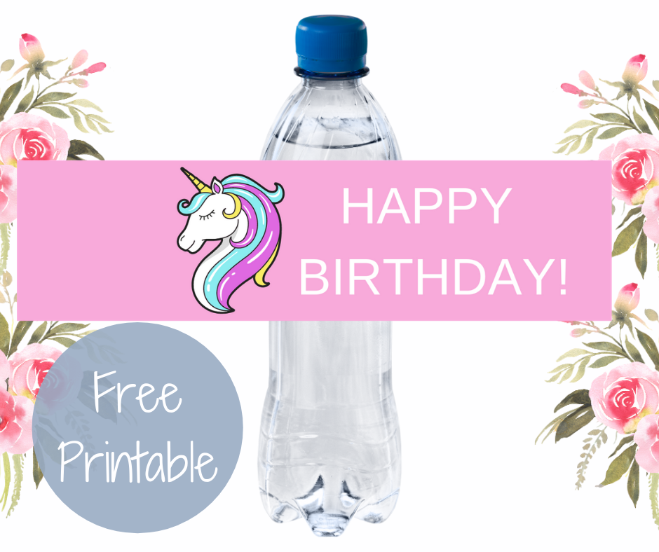 unicorn water bottle label for girl birthday party