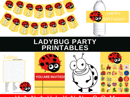 Ladybug Party Kit | Free Printable Ladybug Birthday Party Ideas | DIY Ladybug Decorations & Games