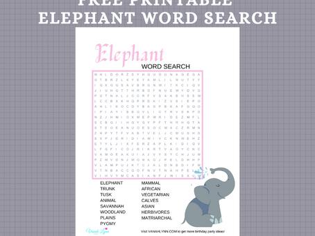 Elephant Word Search | Free Printable Elephant Activity Sheet | Elephant Themed Word Find Freebie