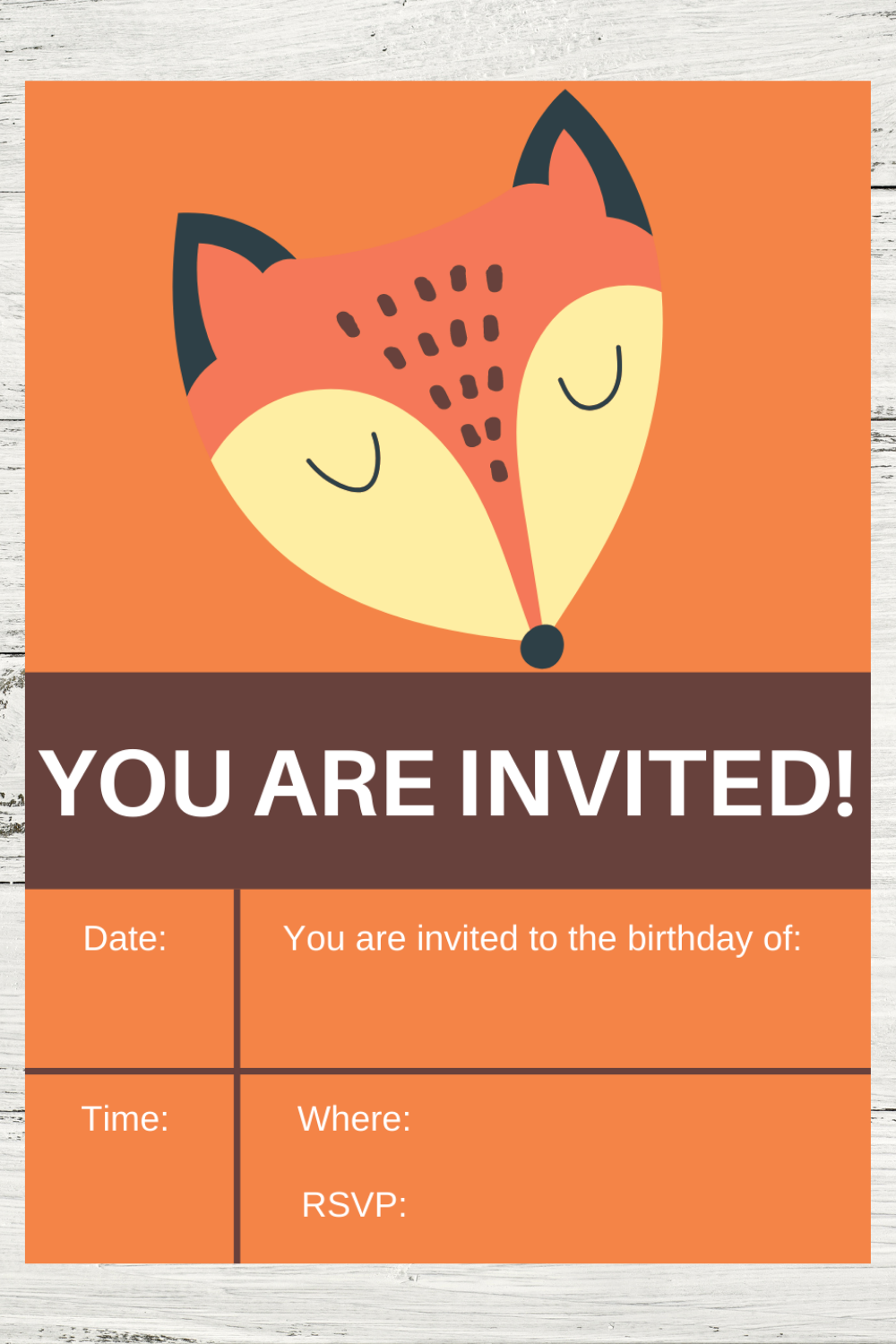 free printable rustic themed birthday party invite