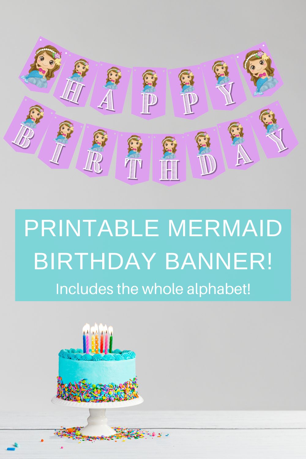 little girls birthday party banner for her mermaid first birthday party