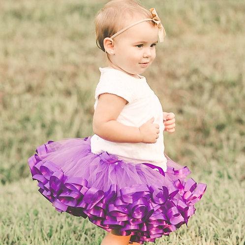 purple tutu skirt on little girl