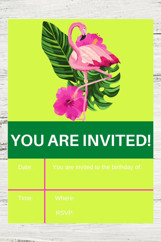 tropical flamingo 1st birthday invitation