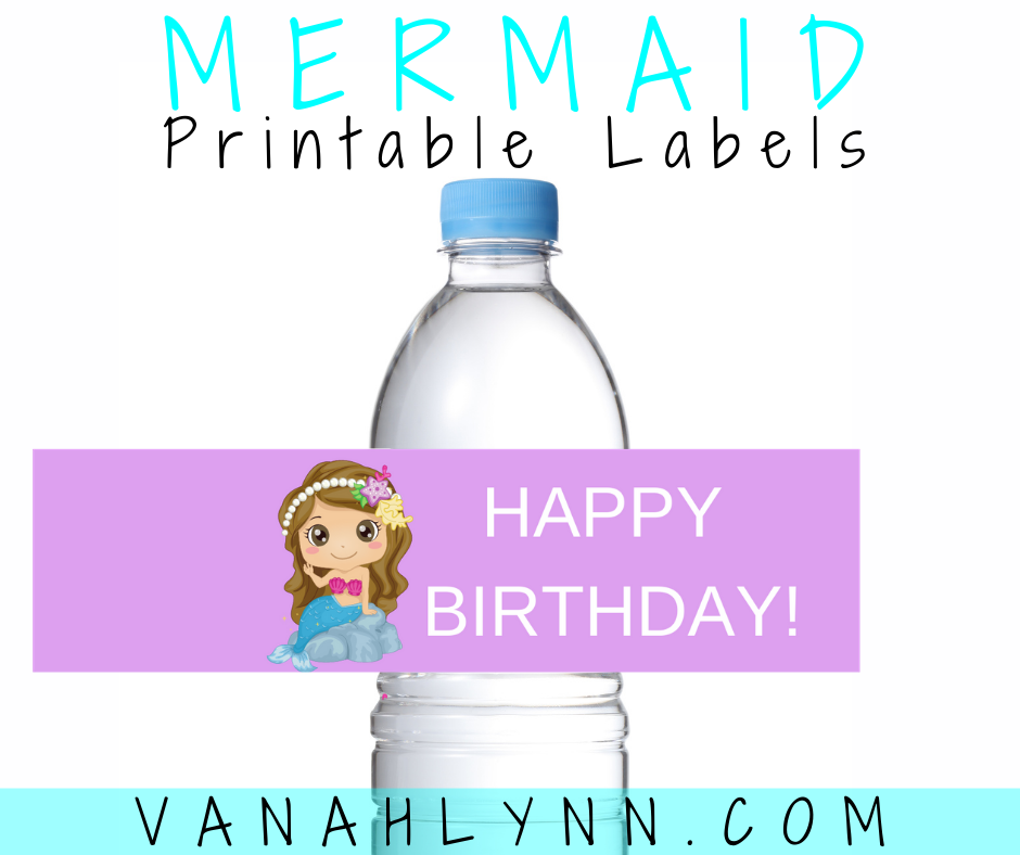 mermaid water bottle label for a kids birthday party
