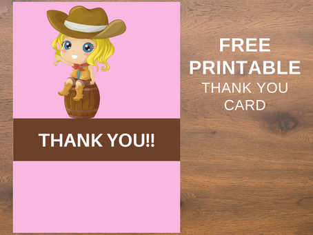 Cowgirl Thank You Card | Free Printable Cowgirl Themed Thank You Note | Cowgirl Birthday Party Ideas