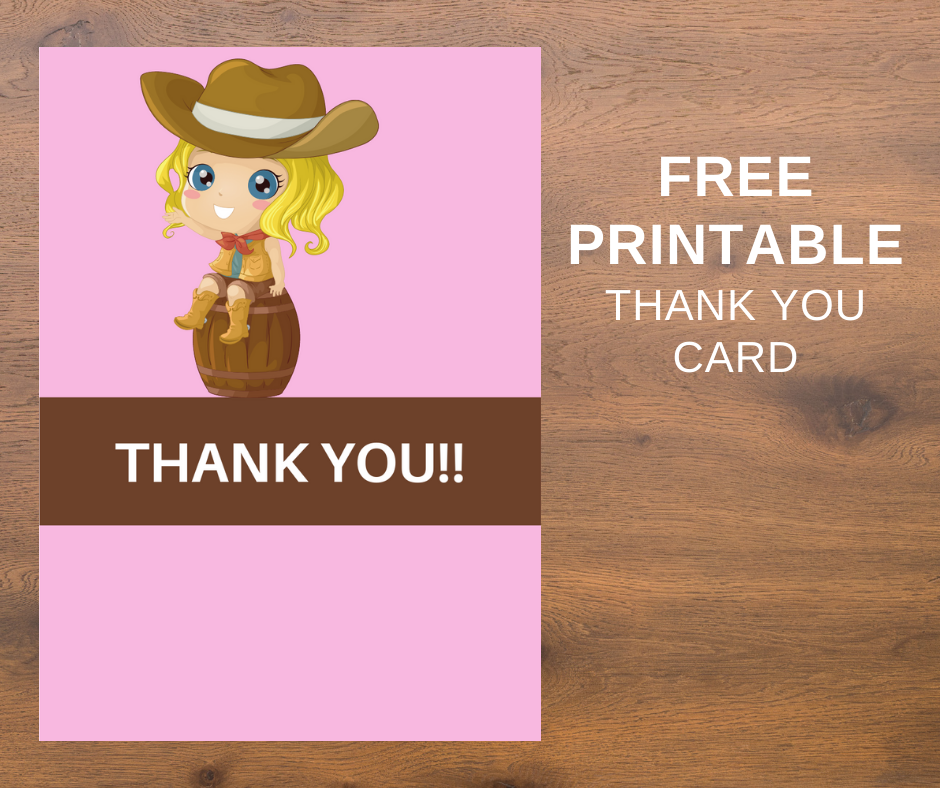cowgirl themed thank you card for a birthday party