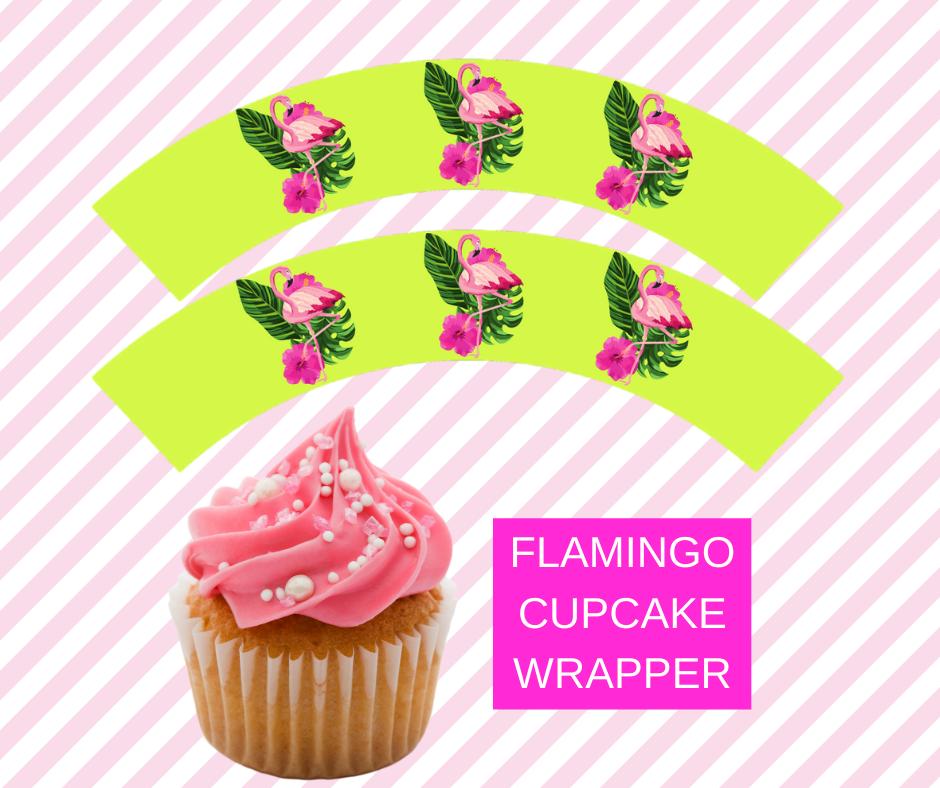 free printable flamingo cupcake wrappers