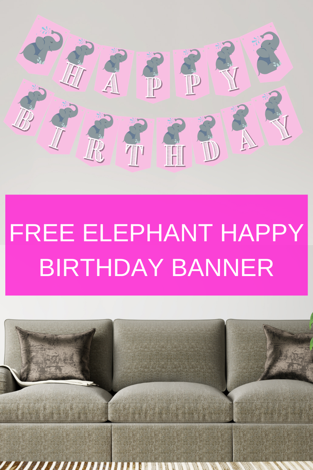 elephant first birthday banner for little girls birthday