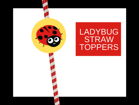 Ladybug Straw Toppers | Free Printable Ladybug Birthday Party Ideas | DIY Ladybug Themed Decorations