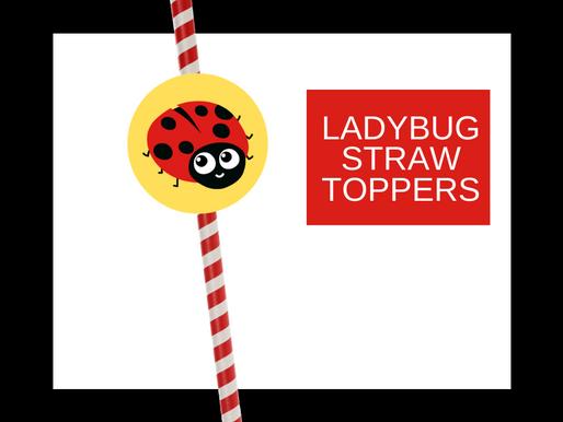 Ladybug Straw Toppers | Free Printable Ladybug Birthday Party Ideas | DIY Ladybug Themed Decorations