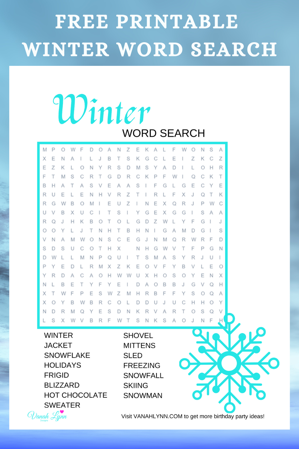 free printable winter word find for girl's birthday party