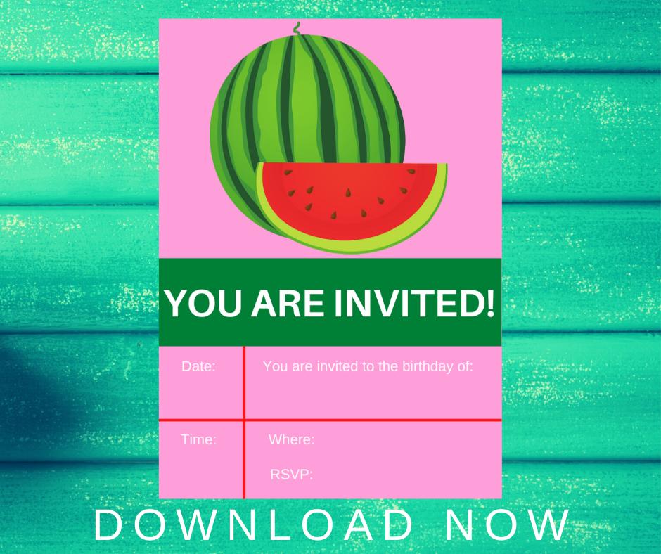 watermelon birthday party invitation for a kids birthday