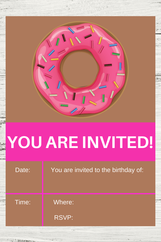 donut first birthday invitation