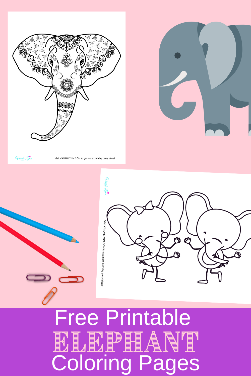elephant themed coloring pages for little kids