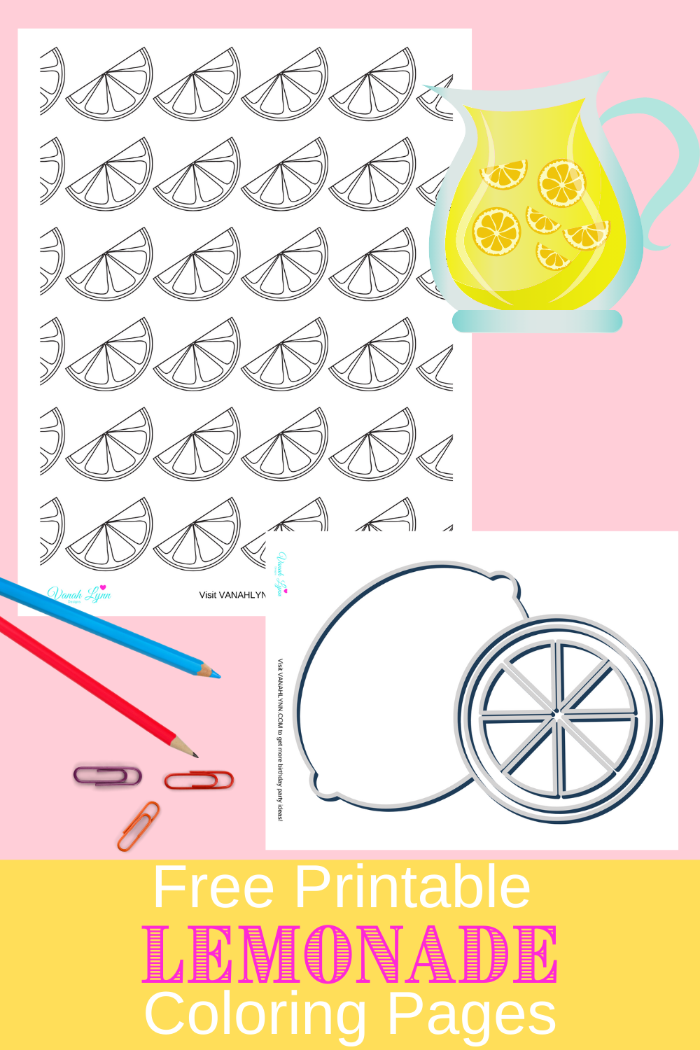 lemon coloring sheets for a little girl's birthday party