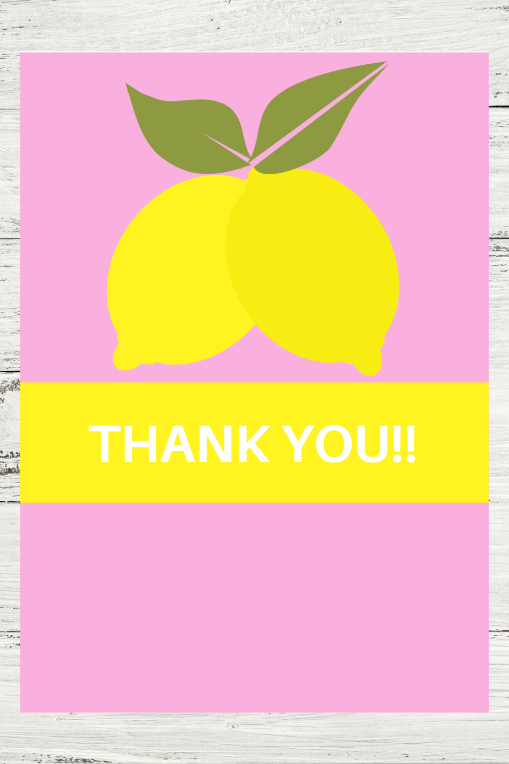 little girls lemonade themed thank you note for a birthday party