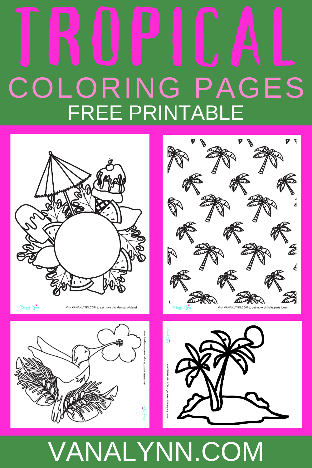 free download: free tropical themed coloring sheets for a birthday party