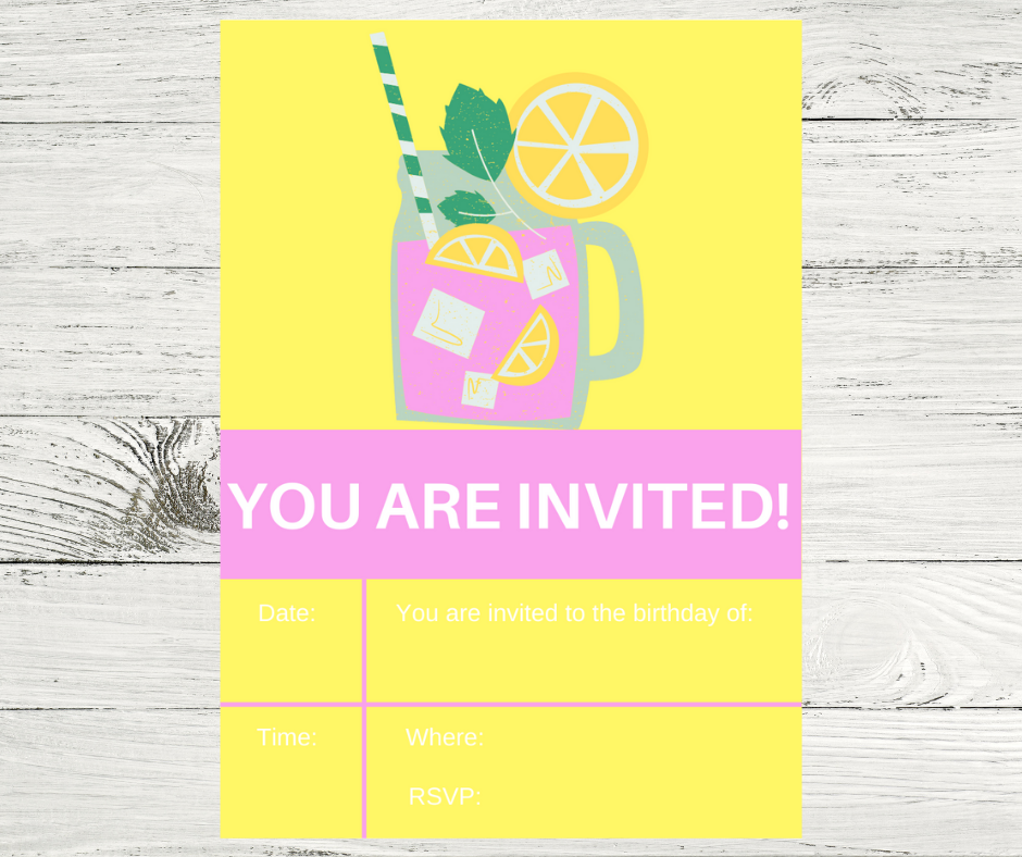 pink lemonade birthday party invitation for kids