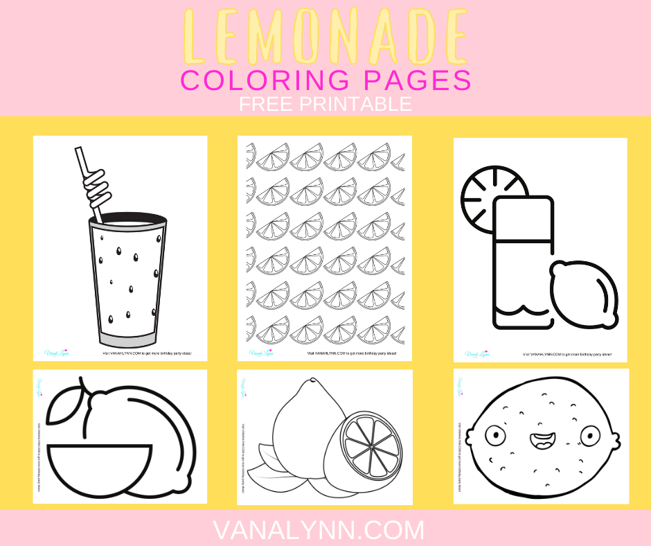 lemonade coloring pages for a little girl's birthday party
