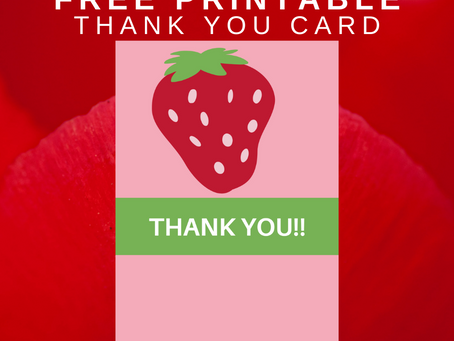 Strawberry Thank You Card | Free Printable Strawberry Thank You Note | DIY Strawberry Party Ideas