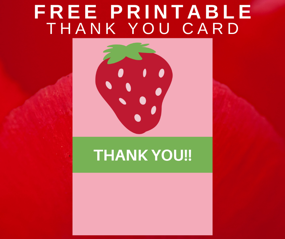 strawberry thank you card for kids birthday party