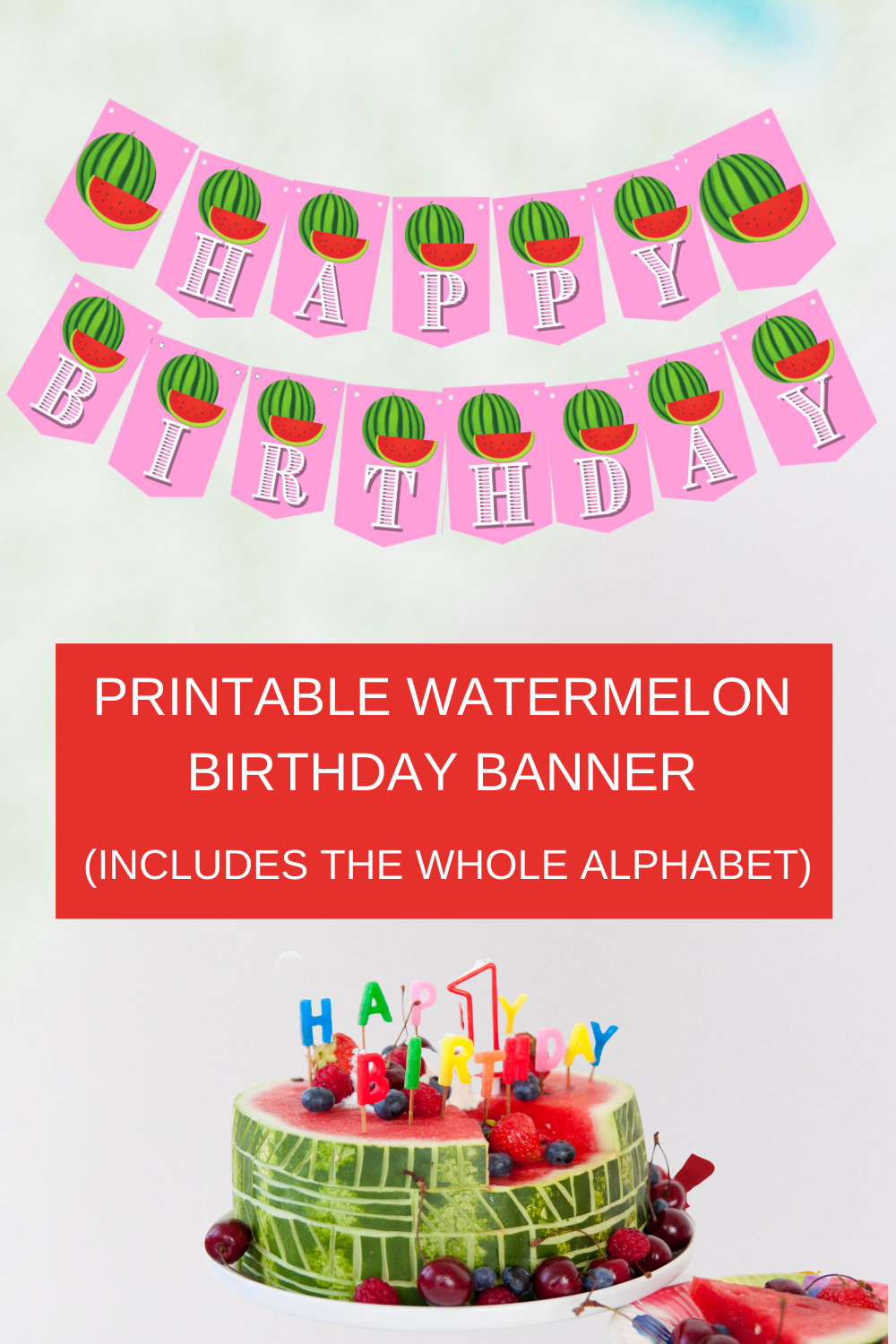 green and red watermelon birthday party banner