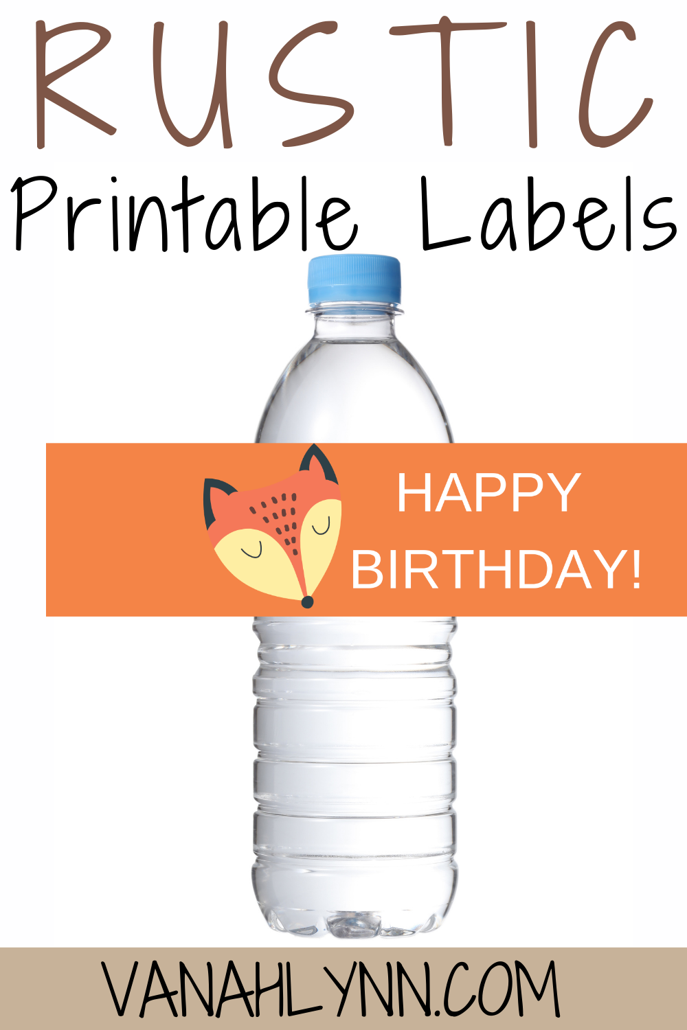 free printable fox themed water bottle wrapper