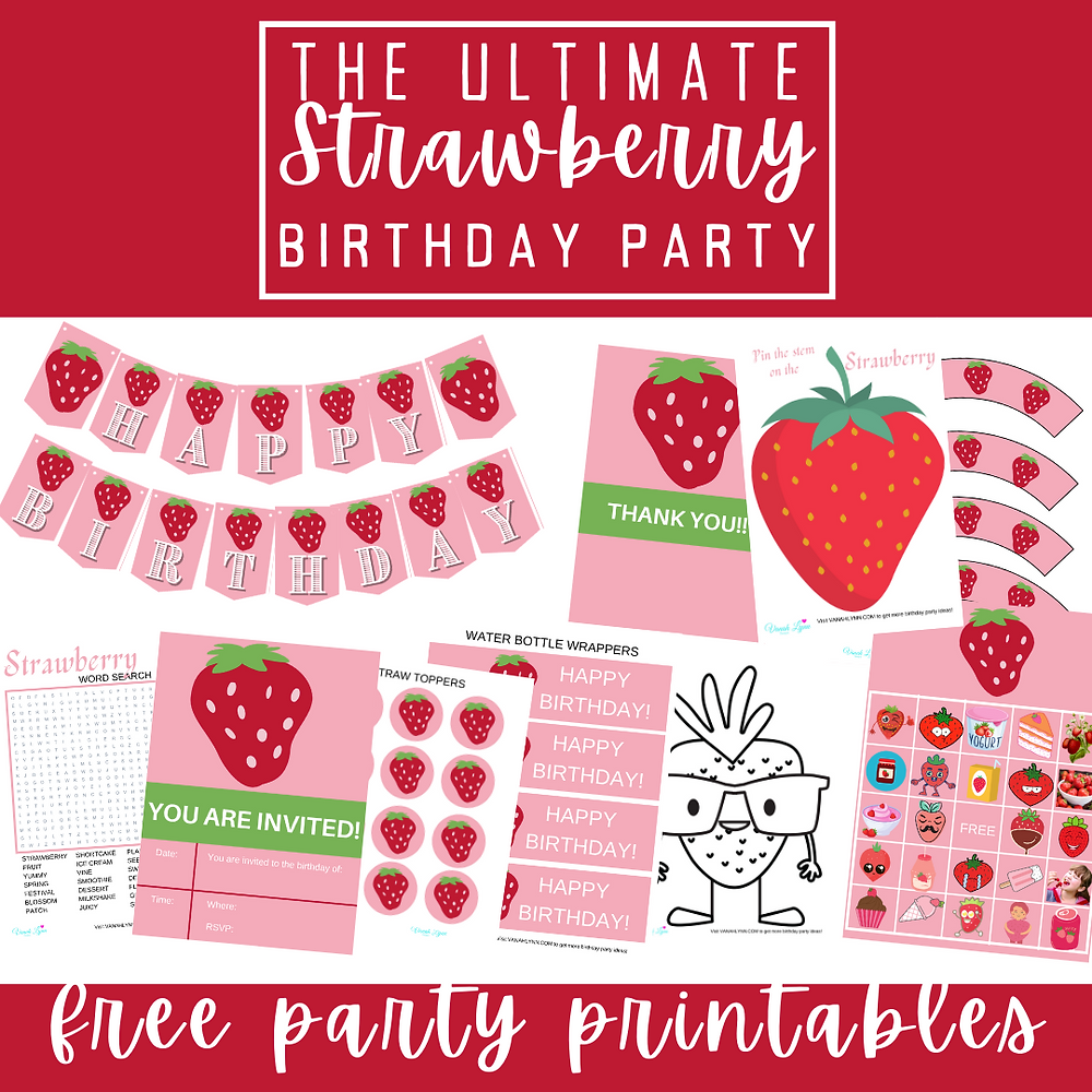 free printable strawberry party kit