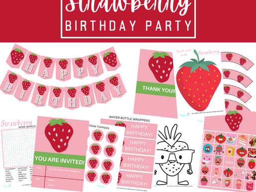 Strawberry Party Kit | Free Printable Strawberry Birthday Party Ideas | Strawberry Décor & Games