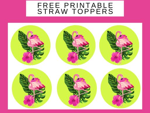 Flamingo Birthday Decoration Ideas - FREE Printable Straw Toppers