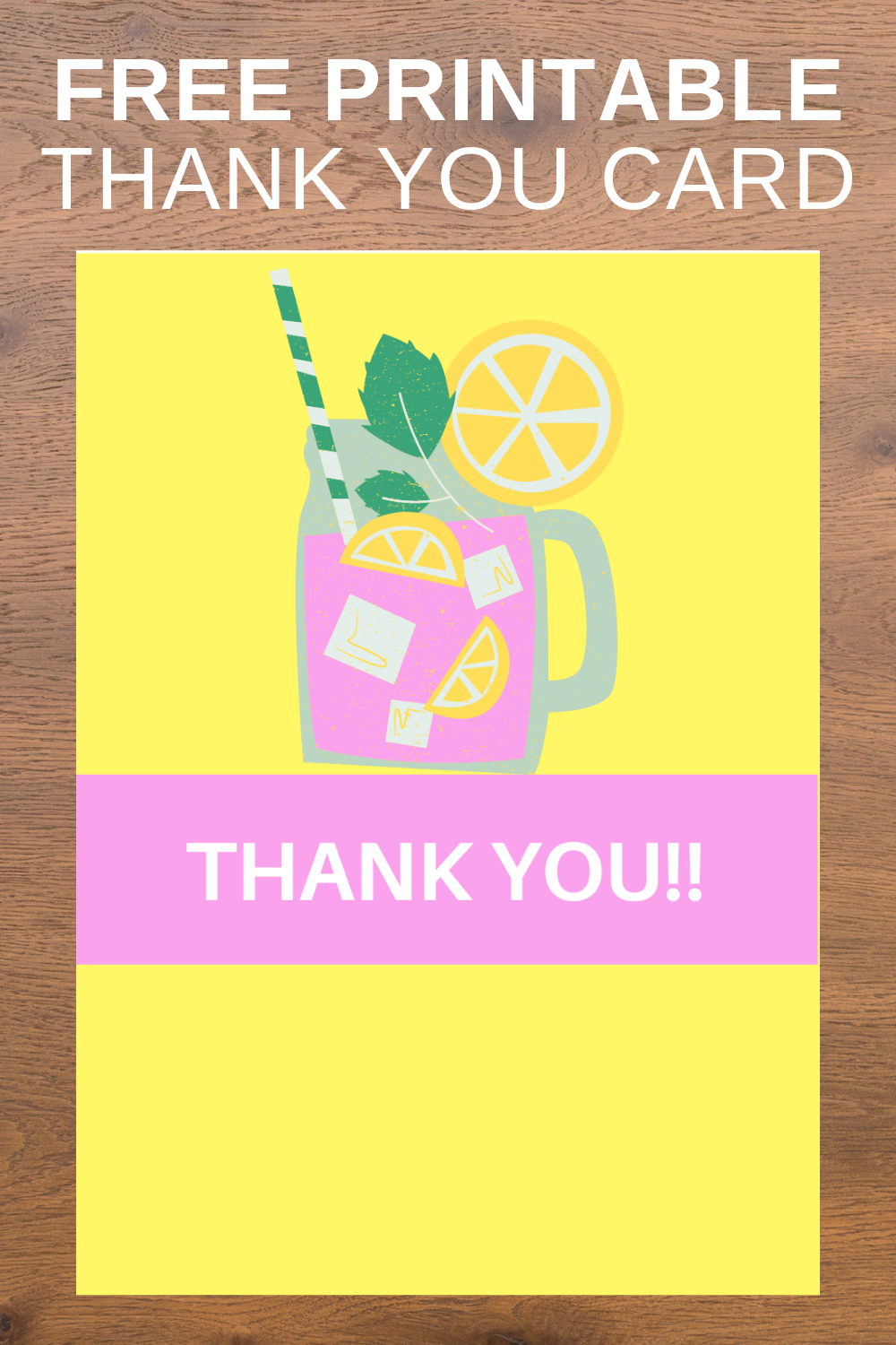 free download: pink lemonade birthday party thank you note
