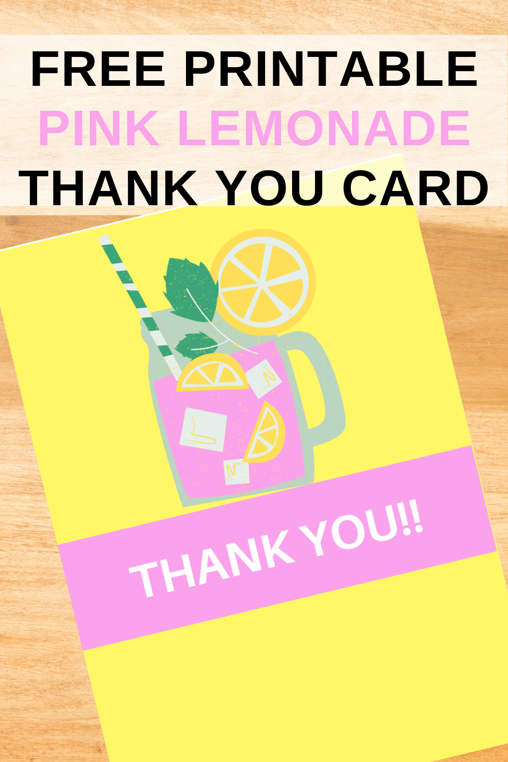 first birthday party pink lemonade thank you note
