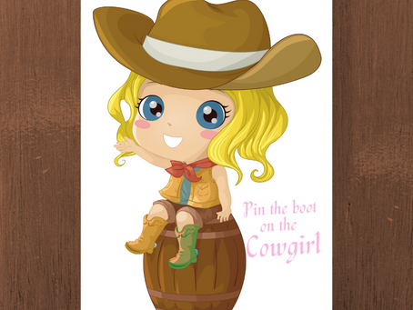 Pin the Boot on the Cowgirl | Cowgirl Birthday Game | Cowgirl Party Activity
